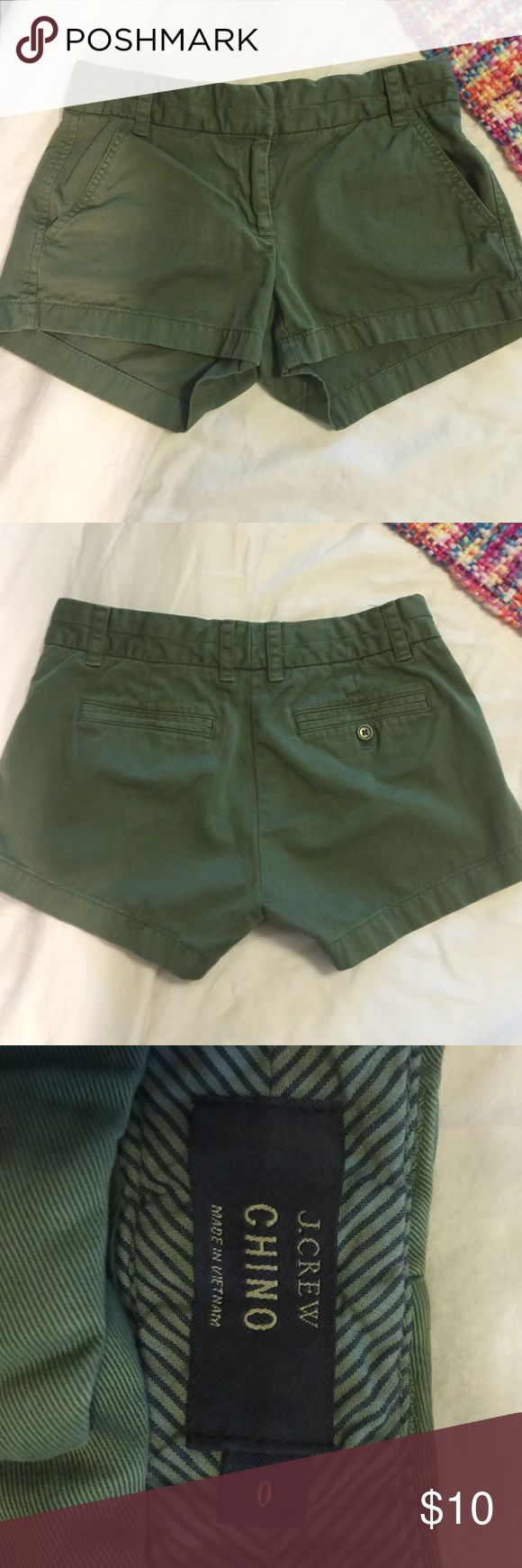 Army green J.Crew dress shorts Super cute army green shorts. Great paired with a white tank top! J. Crew Shorts