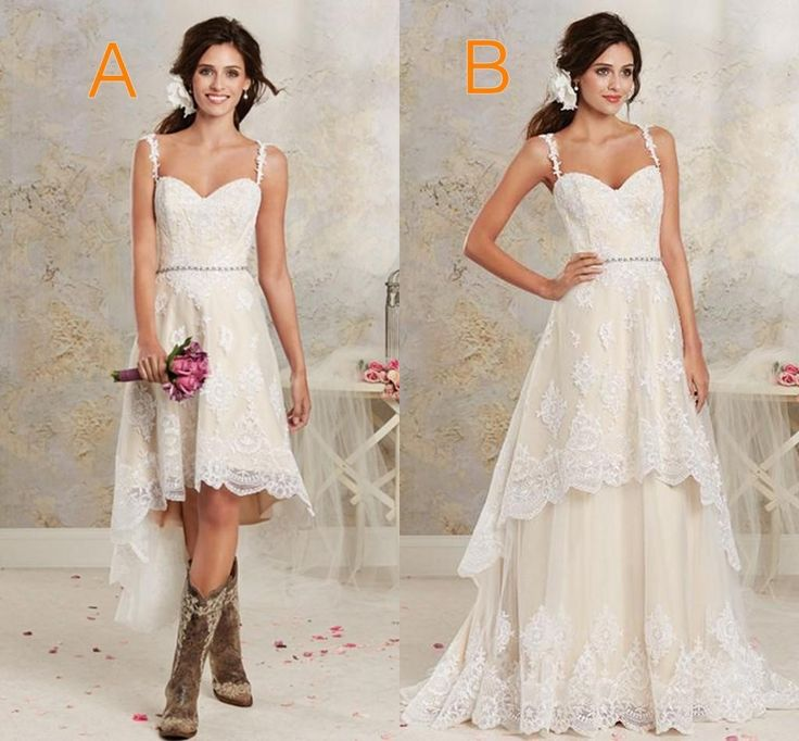 Trendy Two Styles Lace Country Wedding Dresses High Low Short Bridal Dresses And Floor Length Multi Layers