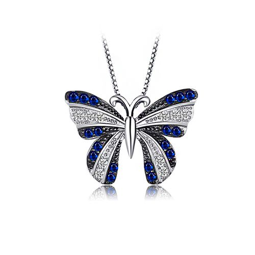 Butterfly 0.4ct Created Blue Spinel Silver Pendant