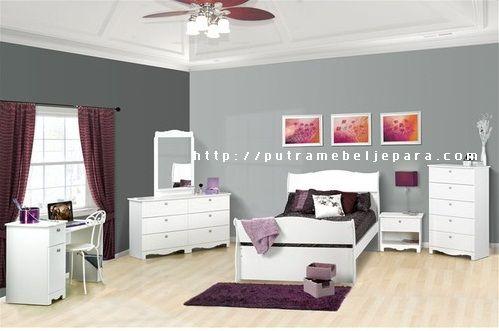 Kamar Tidur Anak Minimalis Cat Duco Putih | Putra Mebel Jepara | Mebel Furniture | Toko Furniture | Mebel Jati Minimalis