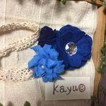 ベビー&キッズ◎大人かわいいブルーのフェルトフラワーヘアバンド