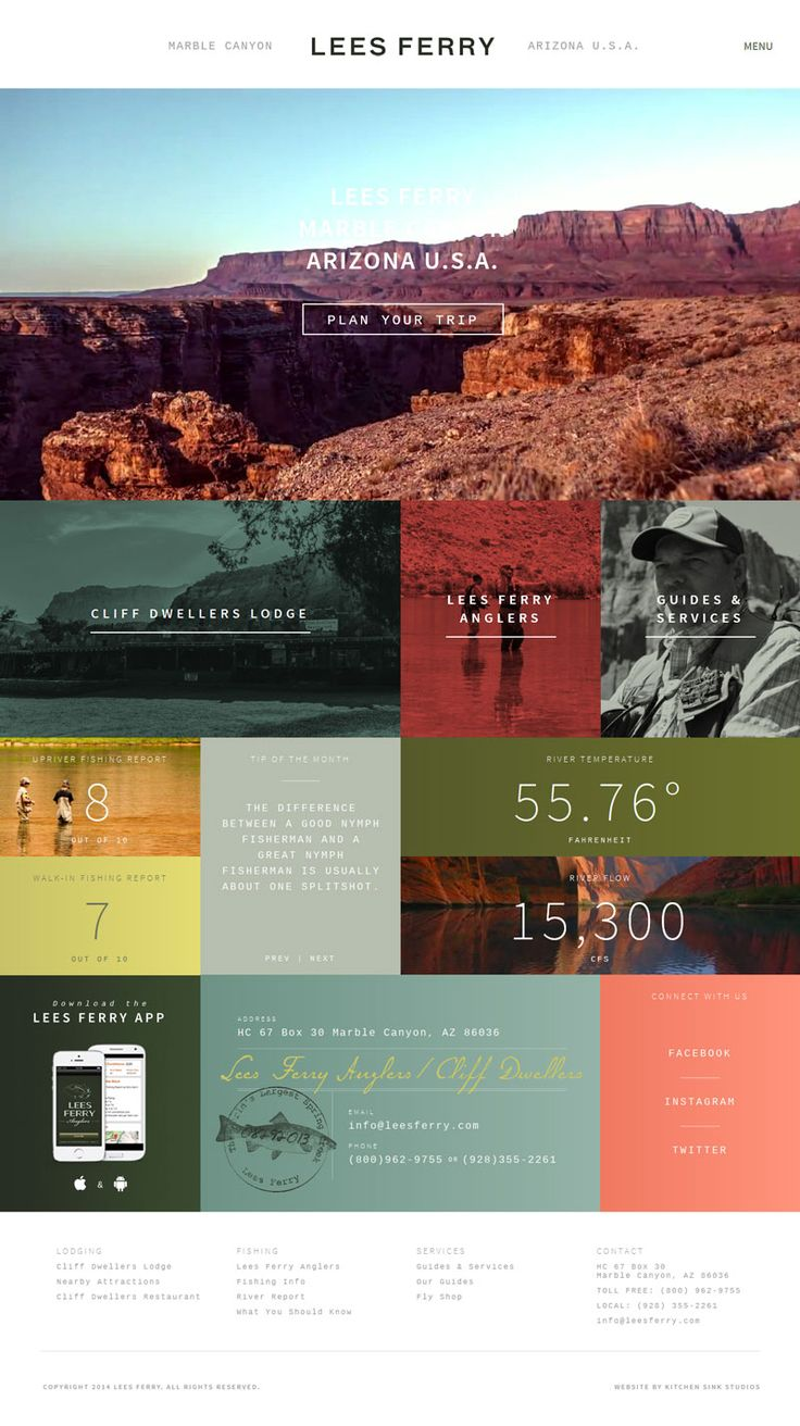 Flat Design Website; Example; Category: Inspiration; Name Website: Lees Ferry; Type Website: Canyon; Minimal Navigation.