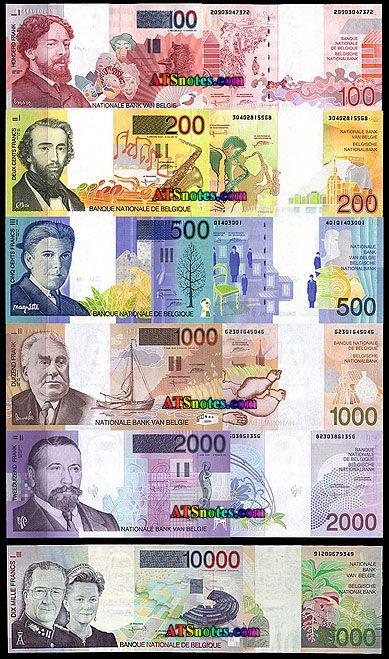 belgium money | 100, 200, 500, 1.000, 2.000, 10.000 francs