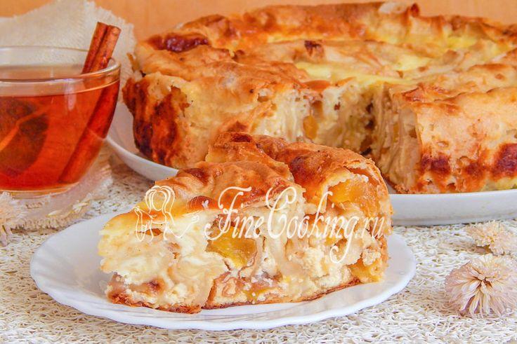 Пирог из лаваша с творогом и персиками - рецепт с фото