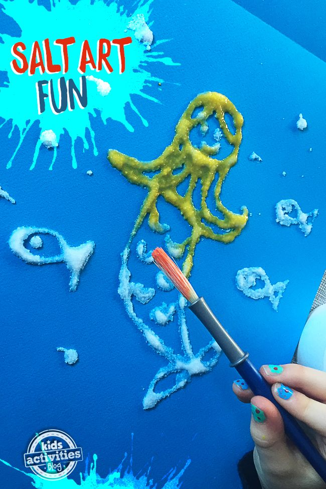 Salt art is such a fun craft for kids to make and all you need is salt, glue and watercolor paints.