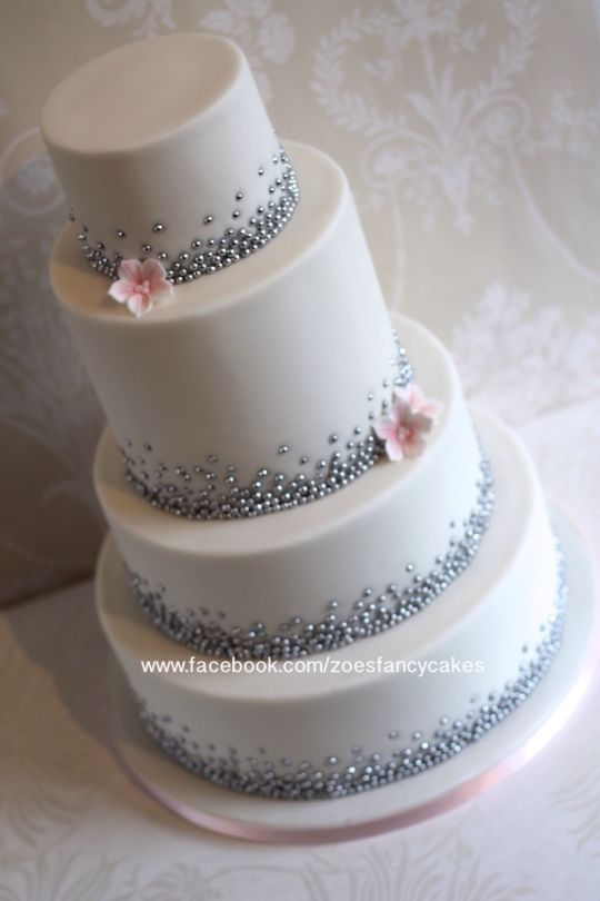 Perla de plata pastel de bodas