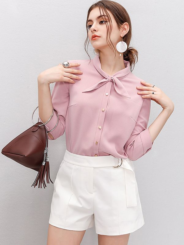 Pink Cross-over Collar Button Front Blouse
