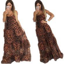 Европейский Осень 2016 Новый Горячий Продажа Мода Повседневная Женщины Leopard Шифон Ремень Без Бретелек Сексуальный Клуб Макси Платье Бесплатная Доставка(China (Mainland))