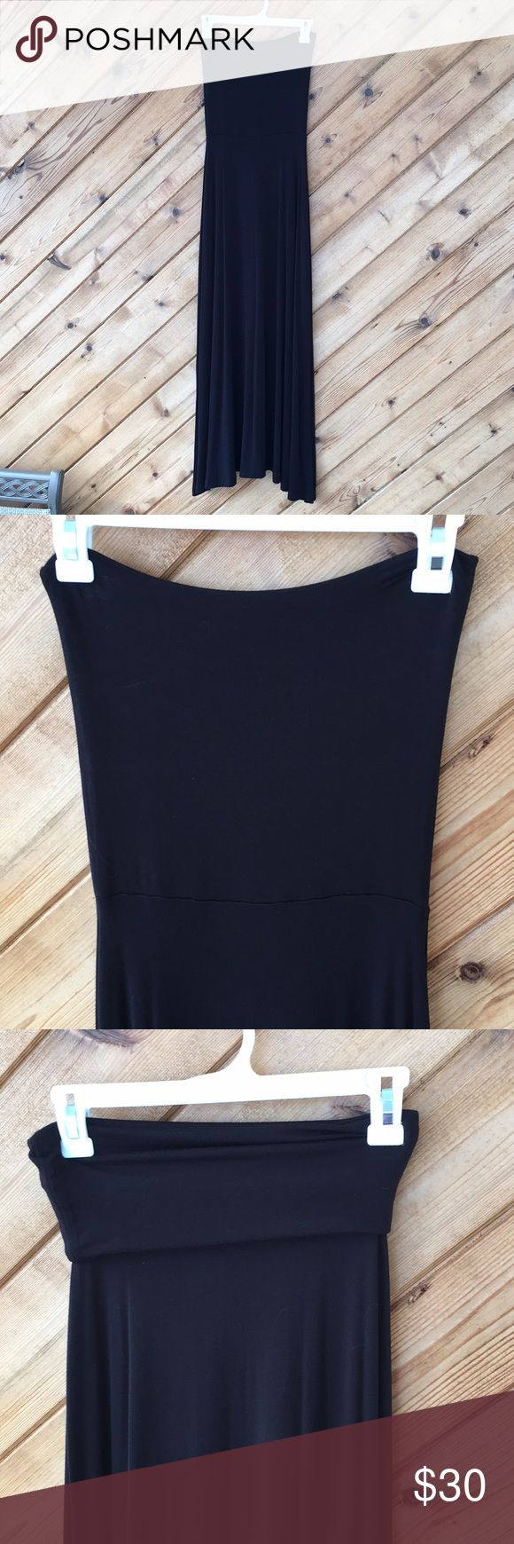 """😍 GAP's 3 in 1 dress / maxi skirt 😍 This is a great find! It can be a strapless maxi dress, or a fold over strapless midi length dress or a maxi skirt! Solid black, size XS (about a size 2) length un-folded to hem is about 49"""" long. Super soft fabric, super stretchy rayon/ spandex blend. Worn once, washed and hung dry. Excellent condition and comes from a smoke free home! GAP Dresses Maxi"""