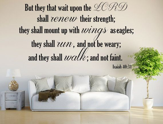Isaiah 40:31 KJV Vinyl Wall Scripture But They That Wait Upon The LORD Custom Vinyl Lettering Custom Wall Decal Bible Quote Wings As Eagles