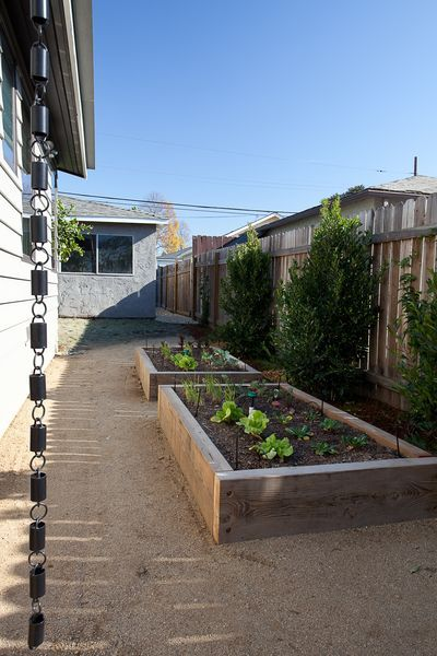 A rain chain in the foreground is a fun alternative to the traditional gutter downspout. The vegetable planters were built of wood reclaimed from the pallet that carried the exterior siding materials.