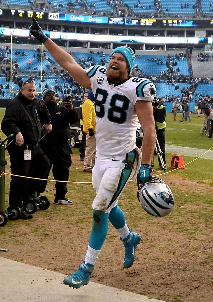 Carolina Panthers tight end Greg Olsen celebrates the team's victory over the Seattle Seahawks at Bank of America Stadium in Charlotte, NC on Sunday, January 17, 2016. The Panthers defeated the Seattle Seahawks in a NFC Divisional game 31-24.