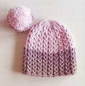 knitted beanie in 3 colours | knitted hat | knitted lace | knitting pattern | dip dye | strikket lue | strikket hue