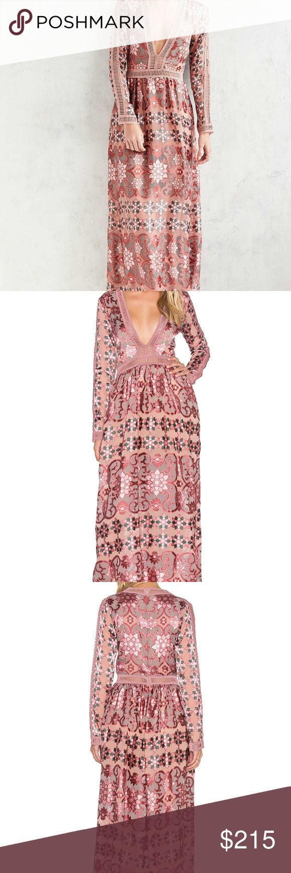 For Love and Lemons Maroon/Rose Juliet Maxi Dress Poly blend Hand wash cold Attached shorts lining Mini ladder cut-out trim Burn-out fabric Hidden back zipper closure For Love And Lemons Dresses Maxi