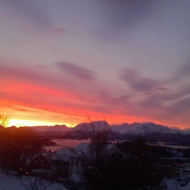 Aalesund, Norway. Beautiful sunrise as seen from my home.