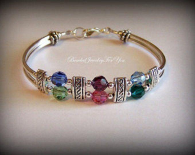 Pulsera personalizada Birthstone: Joyas personalizadas, regalos para las madres día, joyería hecha a mano, mamá regalo Idea, joyería de la pulsera, pulsera cristal