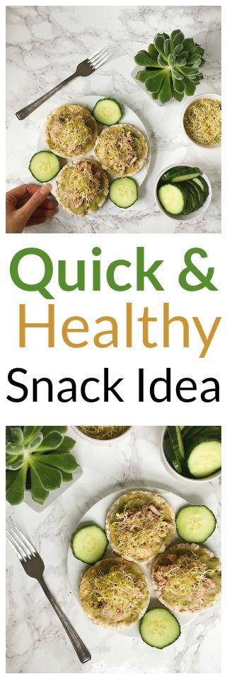 Healthy and Quick Snack Idea- Tuna rice cakes with smashed avocado | #glutenfree #vegan #recipe #healthy #quick #snack #lunch #avocado #ricecake