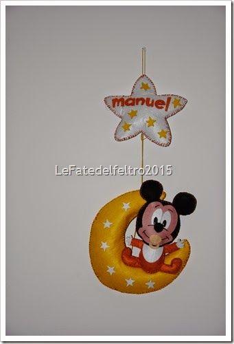 fiocco nascita in feltro boy felt topolino mickey mouse