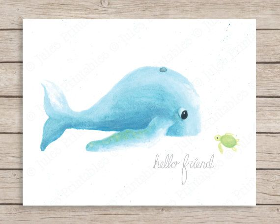 Hello Friend Whale and Turtle Art Print Hello by JulesPrintables, $14.00