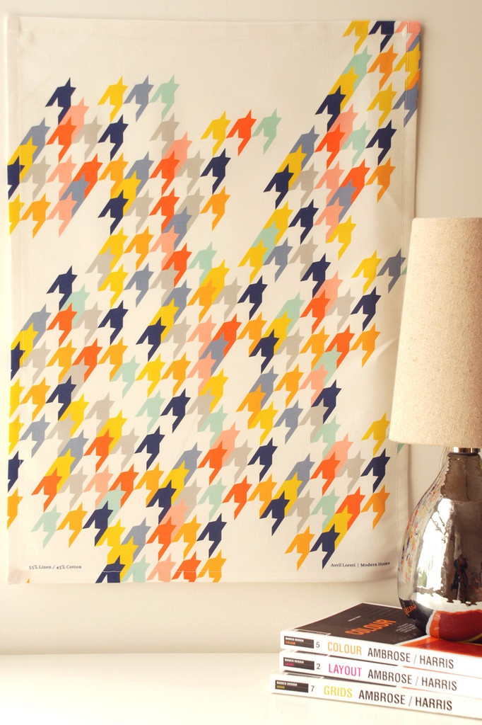 Houndstooth Tea Towel by artist Avril Loreti