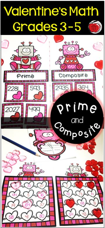 Engaging Math centers that will have your students excited about practicing their understanding of prime and composite numbers. Perfect for Valentine's Day. Mystery number pictures, color by number, spin and cover, sorts, and more! Created by TchrBrowne / Terri's Teaching Treasures