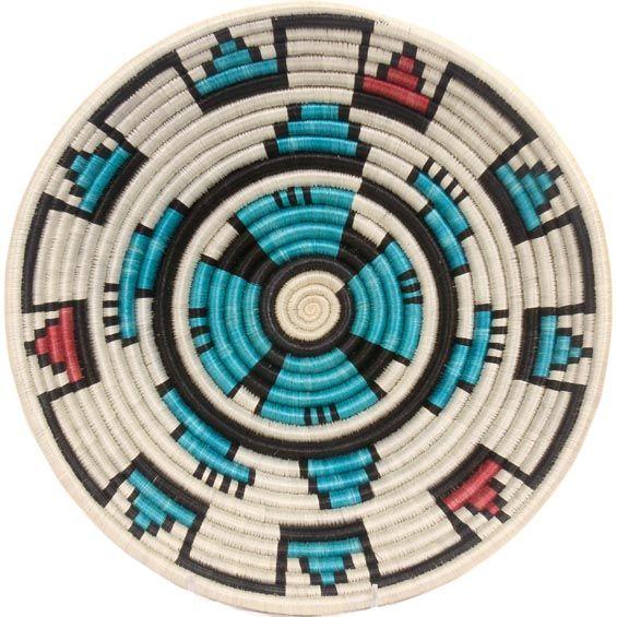 African Basket - Rwanda Sisal Coil Weave Bowl - 12 Inches Across - #33808