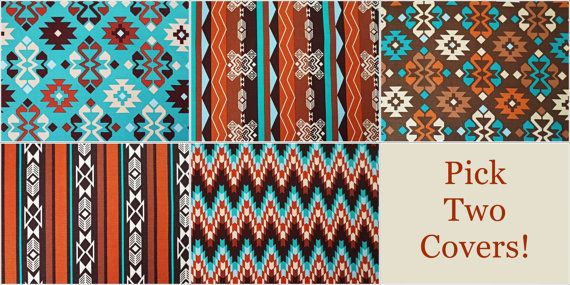 Pick Your Own Teal and Brown Pillow Covers - Native American Fabric Print - 18 x 18 inches Couch Pillow Cover - American Indian Pillows on Etsy, $30.00
