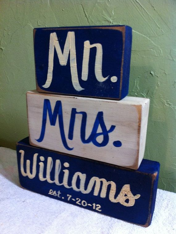 Mr Mrs sign wood blocks personalized family name by trimblecrafts, $19.99