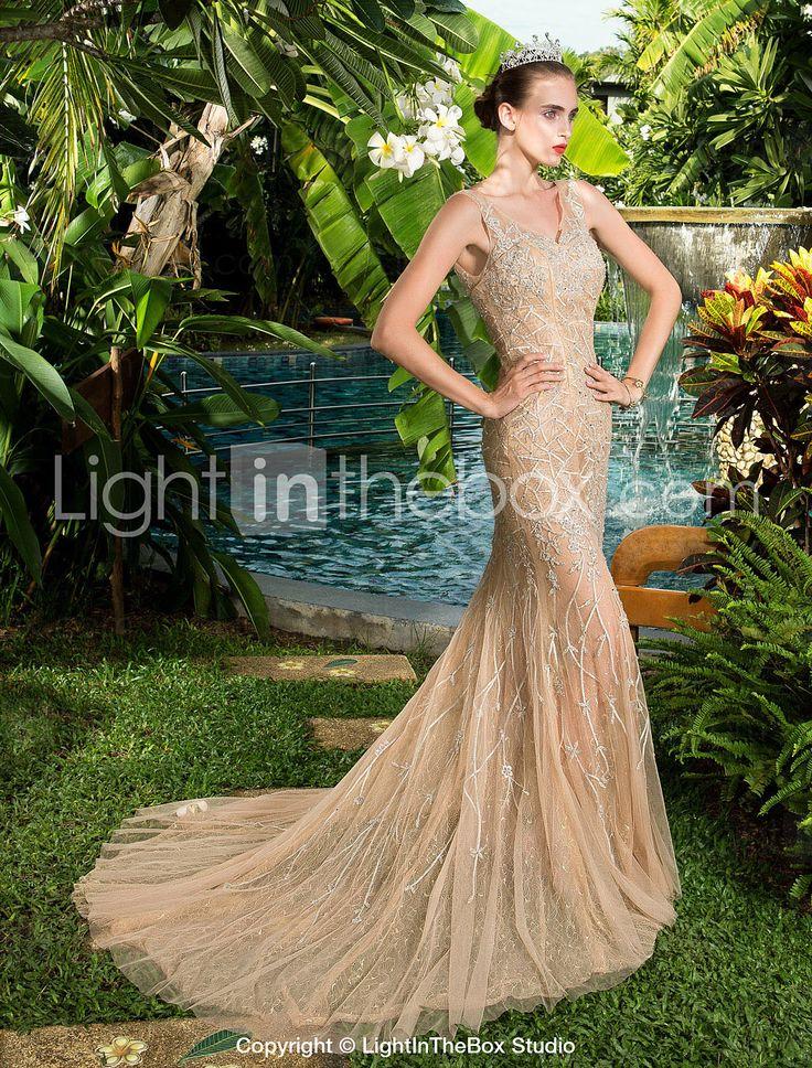 regreso a casa vestido de noche formal - champán Tallas vaina / columna v-cuello tribunal tren satén del estiramiento 2015 – $3,197.52