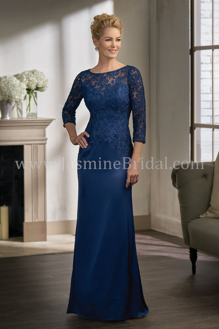 Jasmine Bridal - Jade Couture Style K198003 in Lace/Couture Satin Face Chiffon with Stretch Lining, color Navy