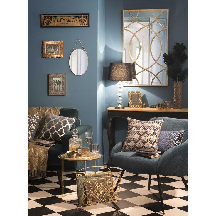 Sessel aus Velours im Vintage-Stil, blau und Metall