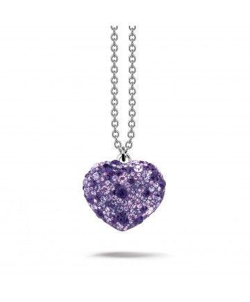 Phantasya Necklace Heart Medium Purple Swarovski Elements