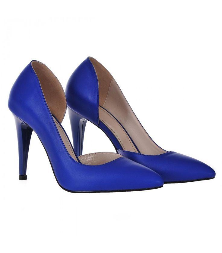 Pantofi Decupati Stiletto Piele Naturala Albastru Electric - Cod S201