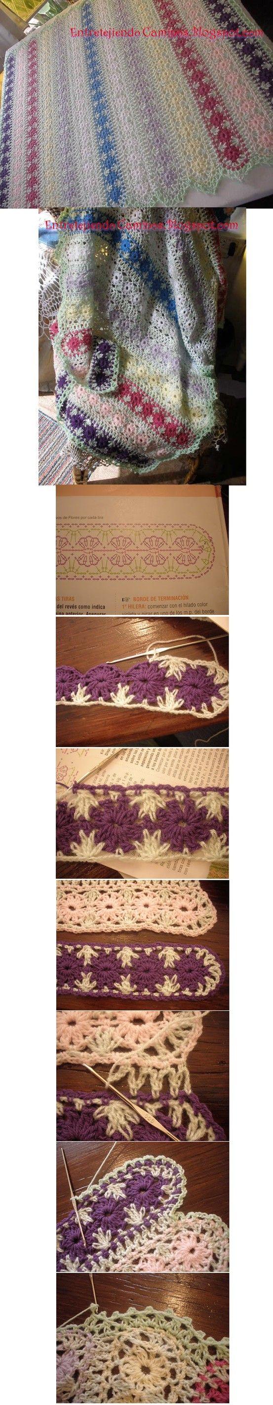 nice version of the crochet mile-a-minute blanket! http://entretejiendocaminos.blogspot.com/search?q=yo+yo%5C