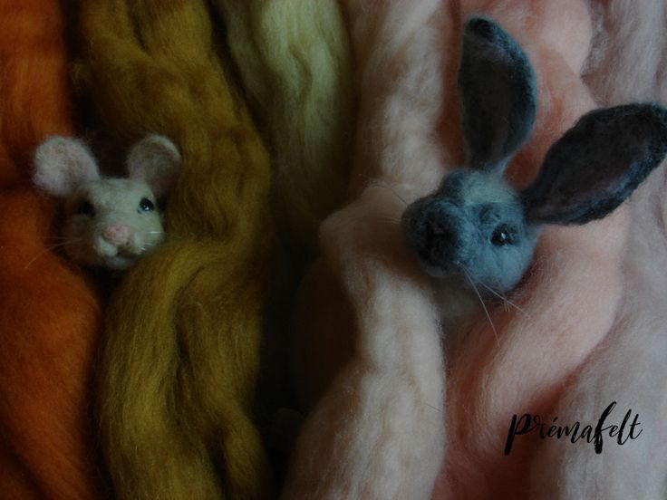 Wool roving and little mouse and bunny