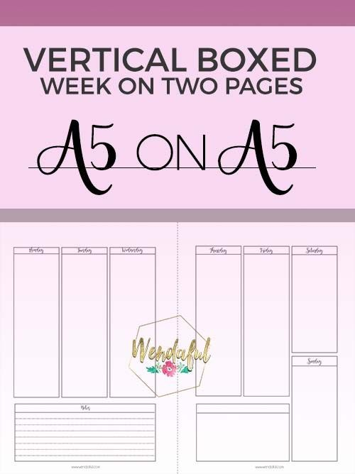 Vertical Boxed Week On Two Pages Planner Inserts | Planner