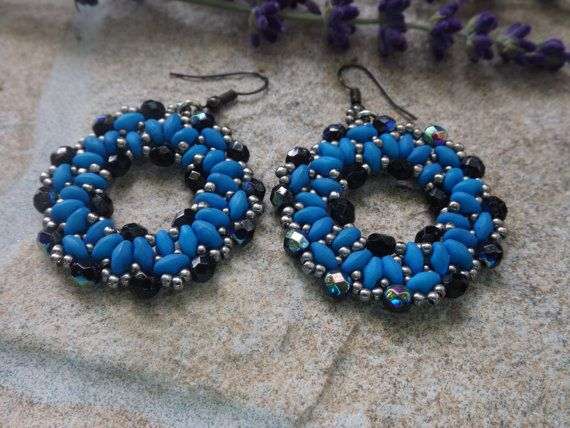 earing, navy blue, superduo beads,