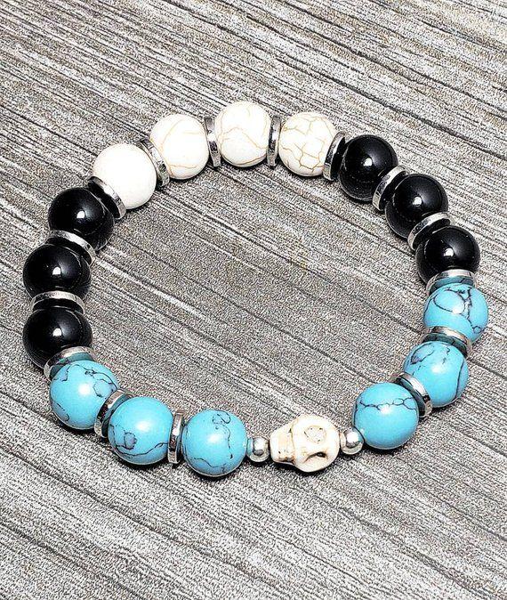 Sterling Silver Stretch Bracelet Turquoise Gemstone Beads Sterling Bracelet.