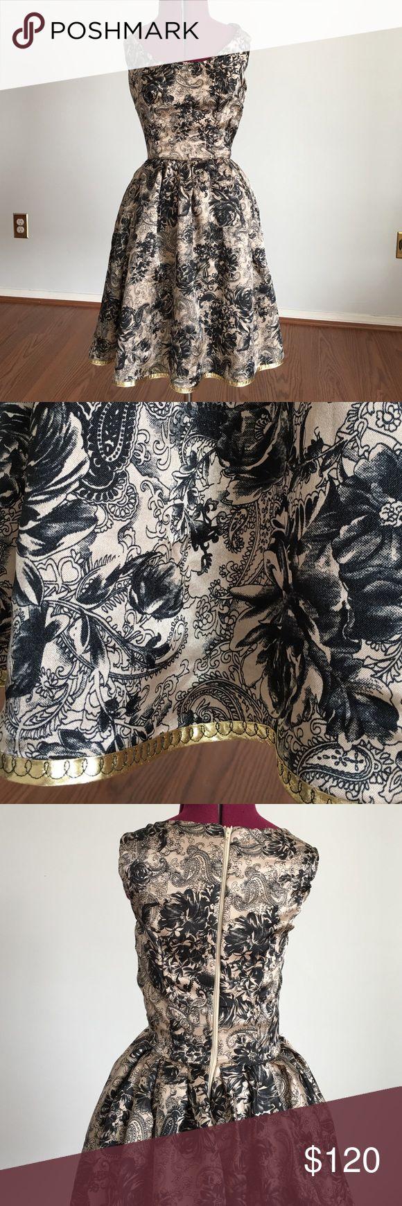 Cute Cocktail Dress NWT satin black and cream cocktail dress. Full skirt. Lined. Gold trim. Back zip. EllaMinnow Pea Dresses Prom
