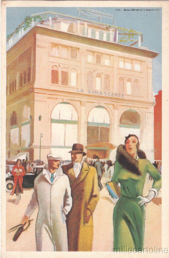 """Old postcard, Dudovich sign.1930 circa """"La Rinascente"""" in Roma #millecartoline"""