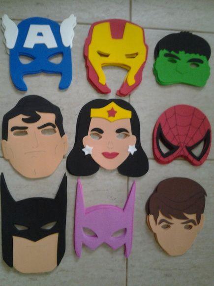Máscaras Super Heróis | Evaleria Artesanato em E.V.A. | 3658EB - Elo7