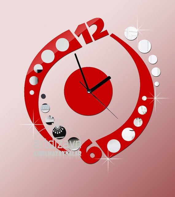modern wall clock red and mirror home living by walldecal76