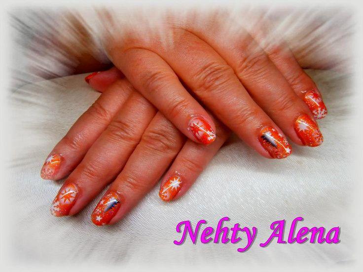 Airbrush - nail design dle mě ;) zima, sníh, vánoce