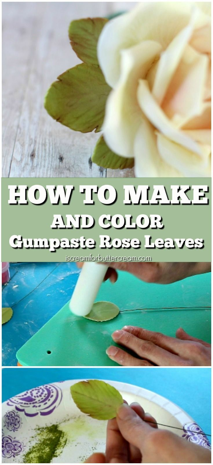 Learn how to make realistic looking gumpaste leaves and how to color them so they really bring life to your gumpaste roses.