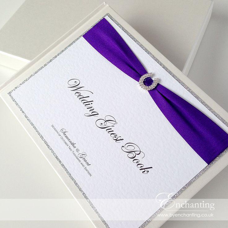 Cadburys Purple Wedding Stationery   The Aurora Collection - Wedding Guest Book   Featuring silver glitter paper border, cadburys purple ribbon and horseshoe diamante embellishment   Luxury handmade wedding invitations and stationery #byenchanting