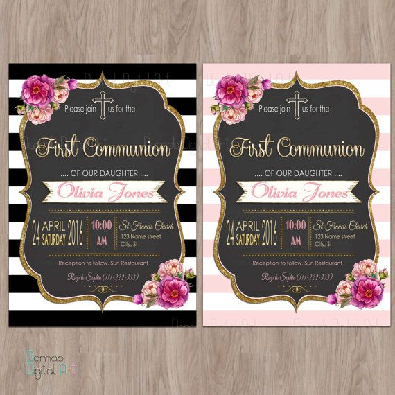 First Communion Invitation Girl Girl First by DamabDigital on Etsy