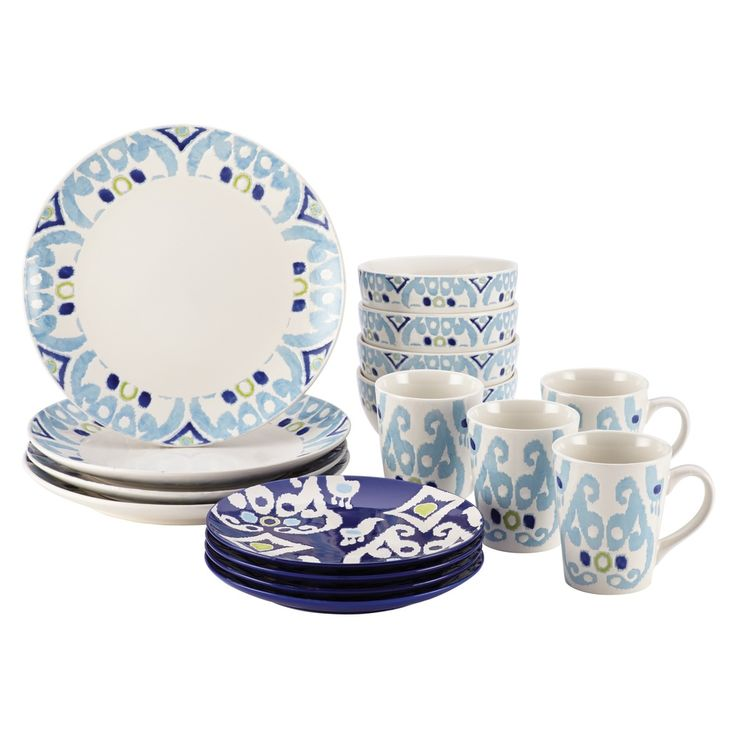 Rachael Ray Dinnerware Ikat 16-piece Stoneware Dish Set   Overstock.com Shopping -  sc 1 st  Pinterest & 18 best Dinnerware Sets images on Pinterest   Dinnerware sets ...