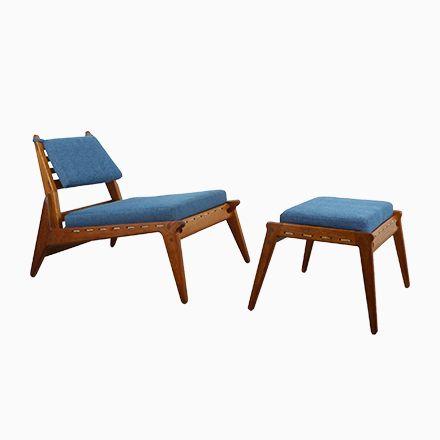 Niedriger Deutscher Vintage Sessel mit Ottoman, 1950er Jetzt bestellen unter: https://moebel.ladendirekt.de/kueche-und-esszimmer/stuehle-und-hocker/armlehnstuehle/?uid=003a9b9a-033f-54e4-a5f8-ef561394624d&utm_source=pinterest&utm_medium=pin&utm_campaign=boards #kueche #esszimmer #armlehnstuehle #hocker #stuehle