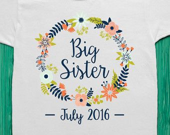 Big Sister Shirt Big Sister Announcement Big by TrendyCactus