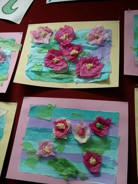 Monet Water Lilies in a pond using tissue paper